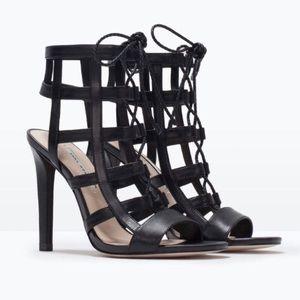 Zara Black Caged Heels